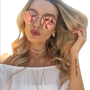 Ray Ban Rose Gold Round Copper Flash Sunglasses